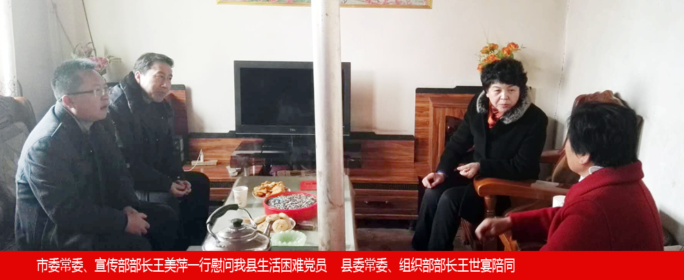市委常委宣传部部长王美萍一行慰问我县生活困难党员    县委常委、组织部部长王世宴陪同