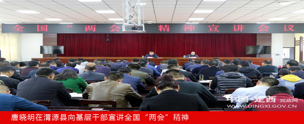 """唐晓明在渭源县向基层干部宣讲全国""""两会""""精神"""